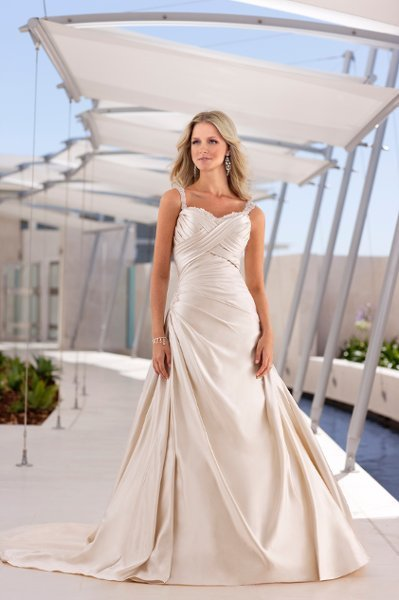 Wedding Dresses, Sweetheart Wedding Dresses, A-line Wedding Dresses, Fashion, white, ivory, silver, Modern, Sweetheart, A-line, Spaghetti straps, Beading, Satin, Floor, Formal, Natural, Sleeveless, Ruching, Modern Wedding Dresses, Beaded Wedding Dresses, Stella York, satin wedding dresses, Spahetti Strap Wedding Dresses, Formal Wedding Dresses, Floor Wedding Dresses