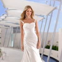 Wedding Dresses, Sweetheart Wedding Dresses, A-line Wedding Dresses, Lace Wedding Dresses, Beach Wedding Dresses, Fashion, white, ivory, silver, Beach, Modern, Lace, Sweetheart, A-line, Beading, Satin, Floor, Formal, Natural, Pleats, Sleeveless, Ruching, Modern Wedding Dresses, Beaded Wedding Dresses, Stella York, satin wedding dresses, Formal Wedding Dresses, Floor Wedding Dresses
