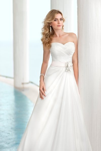 Wedding Dresses, A-line Wedding Dresses, Fashion, ivory, silver, Modern, Flowers, Boho Chic, Strapless, Strapless Wedding Dresses, A-line, Beading, Empire, Satin, Floor, Formal, Organza, Sleeveless, Ruching, Sash/Belt, Modern Wedding Dresses, Beaded Wedding Dresses, organza wedding dresses, Boho Chic Wedding Dresses, Stella York, satin wedding dresses, Flower Wedding Dresses, Formal Wedding Dresses, Floor Wedding Dresses, Sash Wedding Dresses, Belt Wedding Dresses