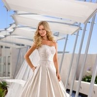 Wedding Dresses, Ball Gown Wedding Dresses, Lace Wedding Dresses, Fashion, white, ivory, silver, Classic, Shabby Chic, Lace, Strapless, Strapless Wedding Dresses, Satin, Floor, Formal, Scoop, Dropped, Pleats, Sleeveless, Ball gown, Sash/Belt, Classic Wedding Dresses, Stella York, satin wedding dresses, Formal Wedding Dresses, Scoop Neckline Wedding Dresses, Floor Wedding Dresses, Shabby Chic Wedding Dresses, Sash Wedding Dresses, Belt Wedding Dresses