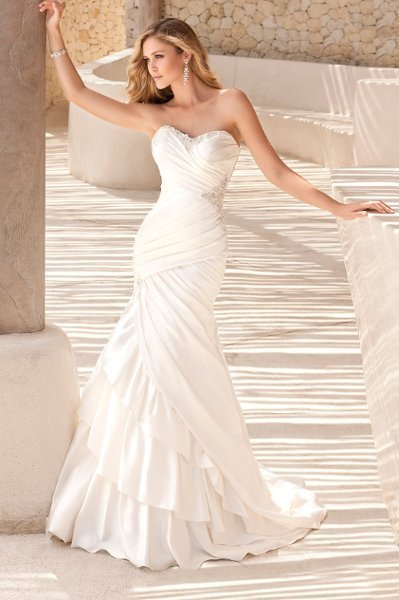 Wedding Dresses, Sweetheart Wedding Dresses, Mermaid Wedding Dresses, Ruffled Wedding Dresses, Fashion, white, ivory, silver, Modern, Sweetheart, Strapless, Strapless Wedding Dresses, Beading, Satin, Floor, Formal, Ruffles, Dropped, Sleeveless, Ruching, Fit-n-Flare, Modern Wedding Dresses, Beaded Wedding Dresses, Stella York, satin wedding dresses, Formal Wedding Dresses, Floor Wedding Dresses