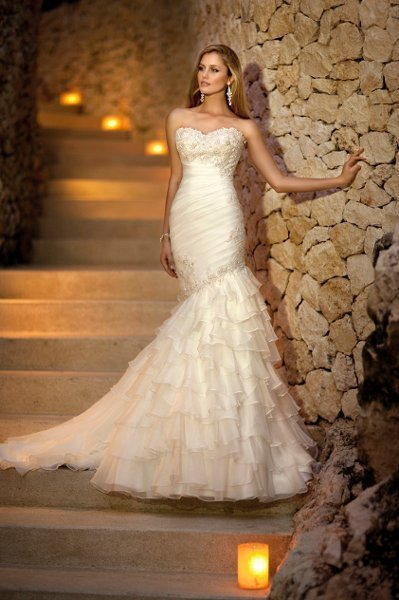Wedding Dresses, ivory, Romantic, Lace, Beading, Empire, Floor, Formal, Organza, Ruffles, Dropped, Sleeveless, Ruching, Mermaid/Trumpet, Fit-n-Flare, hollywood glam, fasion, Stella York