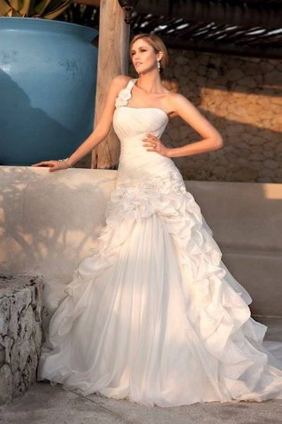 Wedding Dresses, One-Shoulder Wedding Dresses, A-line Wedding Dresses, Ruffled Wedding Dresses, Romantic Wedding Dresses, Fashion, white, ivory, Modern, Square, Flowers, Romantic, A-line, Floor, Formal, Organza, Ruffles, Dropped, Pick-ups, Sleeveless, Ruching, One-shoulder, Modern Wedding Dresses, organza wedding dresses, Stella York, Flower Wedding Dresses, Square Neckline Wedding Dresses, Formal Wedding Dresses, Floor Wedding Dresses