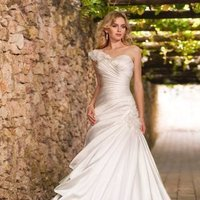 Wedding Dresses, Sweetheart Wedding Dresses, One-Shoulder Wedding Dresses, A-line Wedding Dresses, Romantic Wedding Dresses, Fashion, white, ivory, Modern, Romantic, Sweetheart, Strapless, Strapless Wedding Dresses, A-line, Satin, Floor, Formal, Organza, Dropped, Sleeveless, Ruching, One-shoulder, Modern Wedding Dresses, organza wedding dresses, Stella York, satin wedding dresses, Formal Wedding Dresses, Floor Wedding Dresses