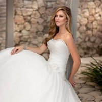 Wedding Dresses, Sweetheart Wedding Dresses, A-line Wedding Dresses, Romantic Wedding Dresses, Fashion, white, ivory, Classic, Flowers, Romantic, Sweetheart, Strapless, Strapless Wedding Dresses, A-line, Beading, Floor, Formal, Organza, Dropped, Sleeveless, Ruching, Beaded Wedding Dresses, organza wedding dresses, Classic Wedding Dresses, Stella York, Flower Wedding Dresses, Formal Wedding Dresses, Floor Wedding Dresses