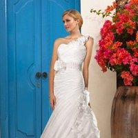 Wedding Dresses, One-Shoulder Wedding Dresses, A-line Wedding Dresses, Romantic Wedding Dresses, Fashion, white, ivory, Modern, Flowers, Romantic, Strapless, Strapless Wedding Dresses, A-line, Empire, Floor, Formal, Organza, Sleeveless, Ruching, One-shoulder, Sash/Belt, Modern Wedding Dresses, organza wedding dresses, Stella York, fit0n-flare, Flower Wedding Dresses, Formal Wedding Dresses, Floor Wedding Dresses, Sash Wedding Dresses, Belt Wedding Dresses