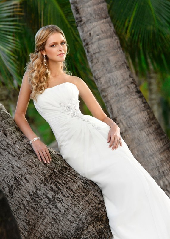 Wedding Dresses, Sweetheart Wedding Dresses, Romantic Wedding Dresses, Beach Wedding Dresses, Fashion, white, ivory, Beach, Modern, Boho Chic, Romantic, Sweetheart, Strapless, Strapless Wedding Dresses, Beading, Sheath, Floor, Chiffon, Natural, Sleeveless, Ruching, Modern Wedding Dresses, Beaded Wedding Dresses, Boho Chic Wedding Dresses, Stella York, Sheath Wedding Dresses, Chiffon Wedding Dresses, Floor Wedding Dresses