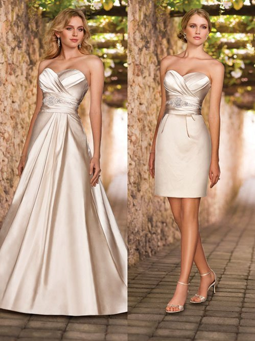 Wedding Dresses, Sweetheart Wedding Dresses, A-line Wedding Dresses, Fashion, white, ivory, Modern, Classic, Sweetheart, Strapless, Strapless Wedding Dresses, A-line, Beading, Empire, Short, Satin, Floor, Formal, Sleeveless, Ruching, Short Wedding Dresses, Modern Wedding Dresses, Beaded Wedding Dresses, Classic Wedding Dresses, Stella York, satin wedding dresses, Formal Wedding Dresses, Floor Wedding Dresses