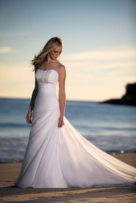 Wedding Dresses, A-line Wedding Dresses, Beach Wedding Dresses, Fashion, white, ivory, Beach, Strapless, Strapless Wedding Dresses, A-line, Beading, Empire, Floor, Formal, Organza, Scoop, Taffeta, Modest, Pleats, Sleeveless, Ruching, Beaded Wedding Dresses, organza wedding dresses, taffeta wedding dresses, Stella York, Formal Wedding Dresses, Scoop Neckline Wedding Dresses, Floor Wedding Dresses, Modest Wedding Dresses