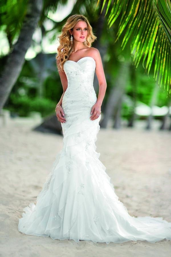 Wedding Dresses, Sweetheart Wedding Dresses, Mermaid Wedding Dresses, Ruffled Wedding Dresses, Beach Wedding Dresses, Fashion, white, ivory, Beach, Boho Chic, Sweetheart, Strapless, Strapless Wedding Dresses, Beading, Floor, Organza, Ruffles, Dropped, Modest, Sleeveless, Ruching, Mermaid/Trumpet, Fit-n-Flare, Beaded Wedding Dresses, organza wedding dresses, trumpet wedding dresses, Boho Chic Wedding Dresses, Stella York, Floor Wedding Dresses, Modest Wedding Dresses