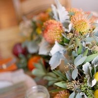 Flowers & Decor, orange, pink, green, Centerpieces, Summer Weddings, Boho Chic Weddings, Rustic Weddings, Summer Wedding Flowers & Decor, Table settings, Boho Chic Wedding Flowers & Decor