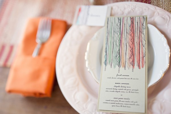 Stationery, orange, pink, Place Cards, Menu Cards, Summer Weddings, Boho Chic Weddings, Rustic Weddings
