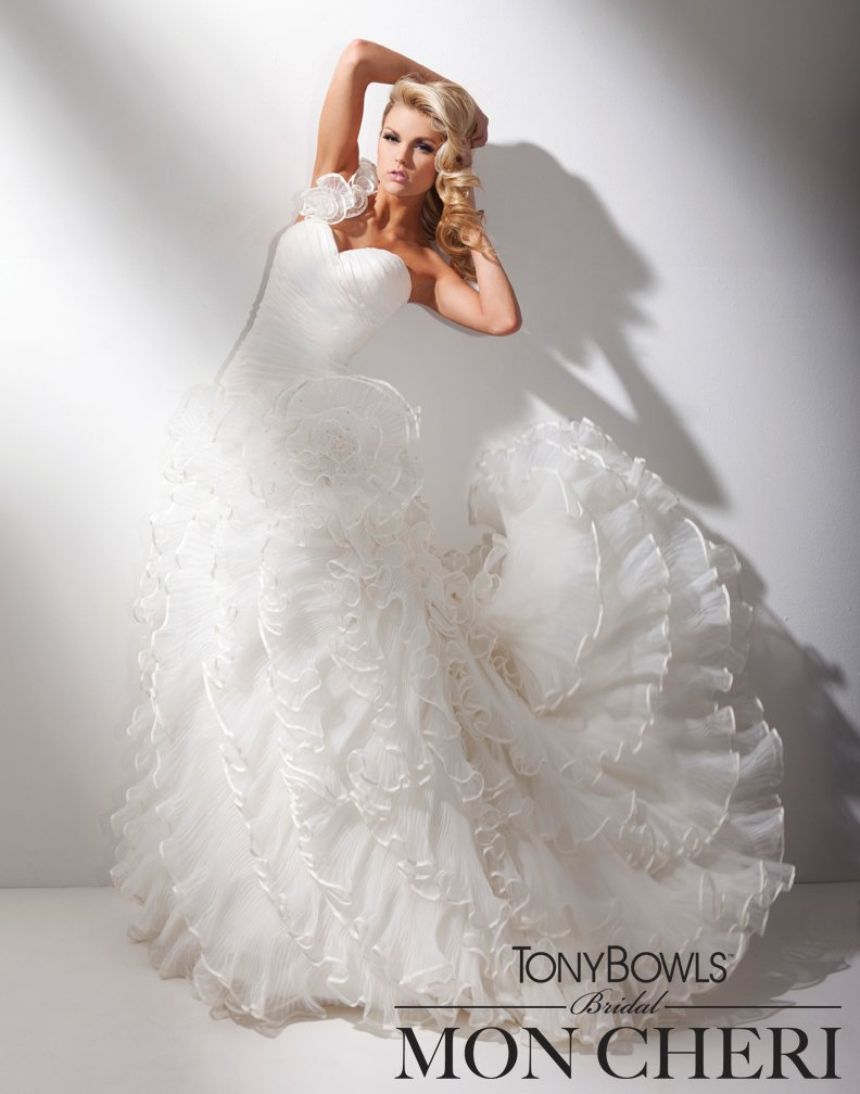 Wedding Dresses, One-Shoulder Wedding Dresses, Ball Gown Wedding Dresses, Fashion, Organza, Pleated, Taffeta, Ruffled, Ball gown, One-shoulder, chapel train, organza wedding dresses, taffeta wedding dresses, sweetheart bodice, dropped waistline, tony bowls bridal, tony bowls bridal for mon cheri, lace up corset