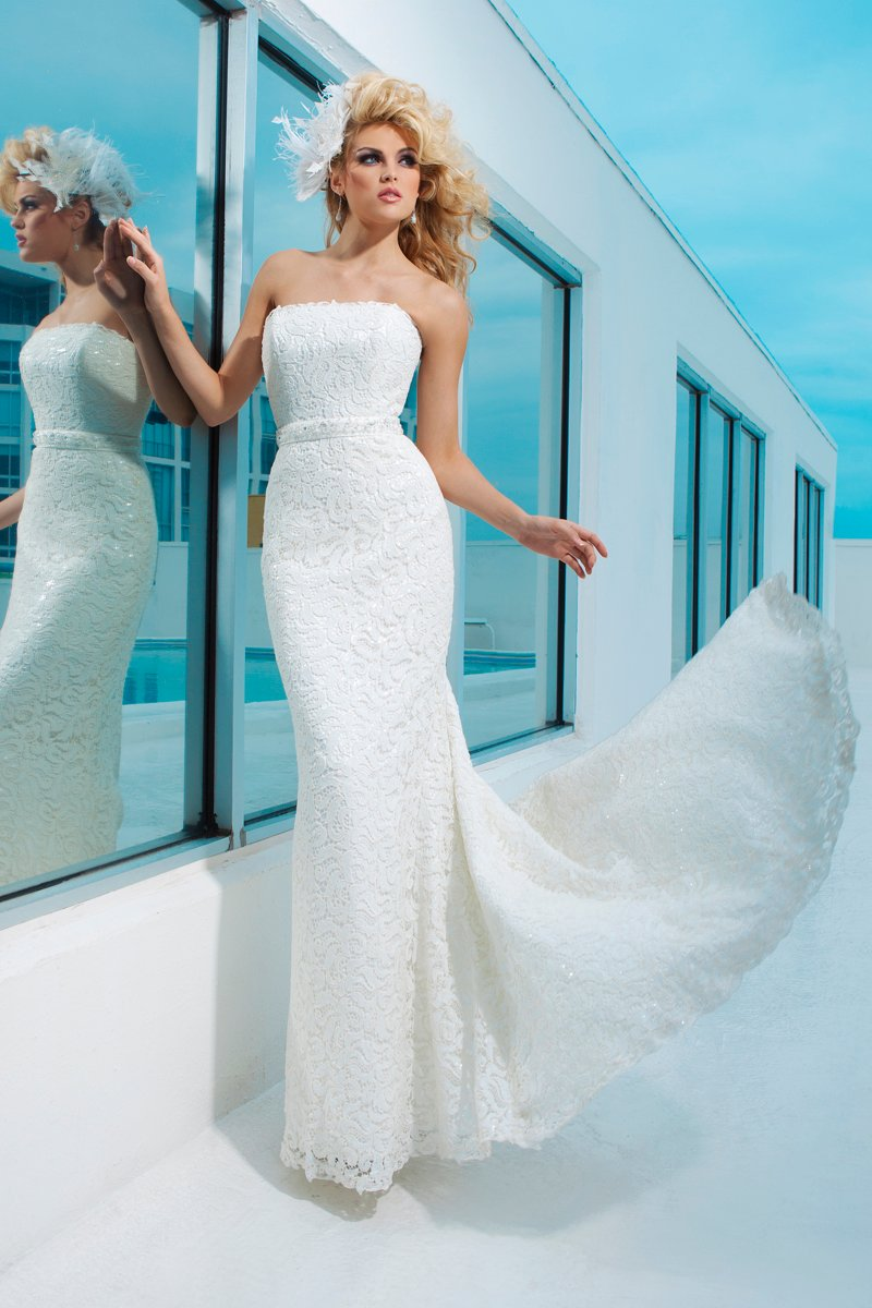 Wedding Dresses, Fashion, Strapless, Strapless Wedding Dresses, Beaded, chapel train, mermaid gown, natural waistline, tony bowls bridal, tony bowls bridal for mon cheri, venise lace, sequined satin, detachable belt, low back bodice, option straps