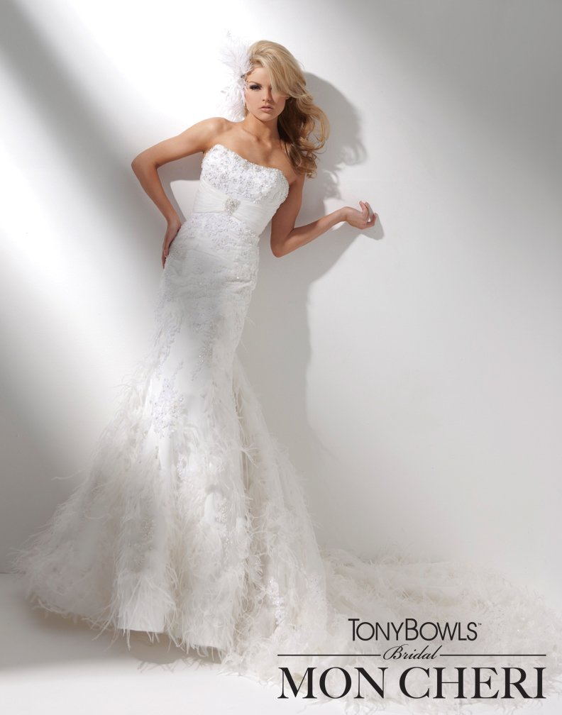Wedding Dresses, Lace Wedding Dresses, Fashion, Feathers, Mermaid, Lace, Strapless, Strapless Wedding Dresses, Tulle, Crystals, Pleated, chapel train, dropped waist, laced up back, curved neckline, tulle wedding dresses, tony bowls bridal, tony bowls bridal for mon cheri, hand-beaded, optional straps, Feather Wedding Dresses