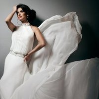 Wedding Dresses, A-line Wedding Dresses, Fashion, A-line, Halter, Chiffon, A-line gown, chapel train, pleated bodice, halter wedding dresses, jeweled neckline, tony bowls bridal, tony bowls bridal for mon cheri, hand-beaded, jeweled waist band, dipped open back, Chiffon Wedding Dresses