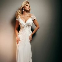 Wedding Dresses, Sweetheart Wedding Dresses, A-line Wedding Dresses, Fashion, Gown, Sweetheart, A-line, Cap sleeves, Satin, Chiffon, Beaded, chapel train, ruched bodice, lace sleeves, tony bowls bridal, tony bowls bridal for mon cheri, satin wedding dresses, Chiffon Wedding Dresses