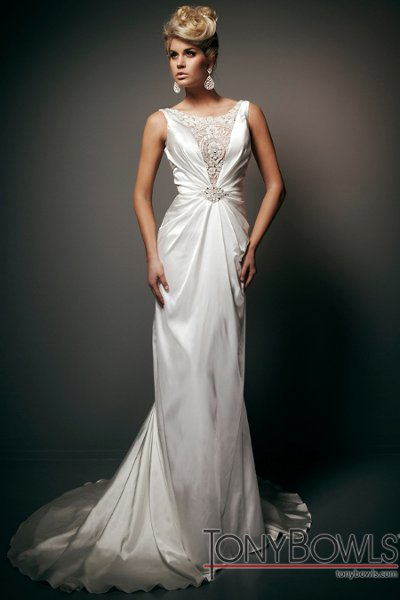 Wedding Dresses, Fashion, Buttons, Charmeuse, Sleeveless, chapel train, illusion neckline, plunging neckline, deep v-neckline, tony bowls bridal, tony bowls bridal for mon cheri, hand-beaded, deep v-back, gathered bodice, crystal buttons