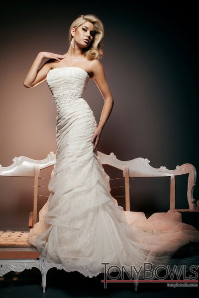 Wedding Dresses, Fashion, Mermaid, Strapless, Strapless Wedding Dresses, Tulle, chapel train, metallic lace, tulle wedding dresses, dropped waistline, tony bowls bridal, tony bowls bridal for mon cheri, hand-beaded, jeweled midriff, bubble hemline, options straps