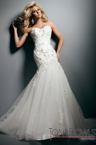 Wedding Dresses, Sweetheart Wedding Dresses, Lace Wedding Dresses, Fashion, Mermaid, Lace, Sweetheart, Strapless, Strapless Wedding Dresses, Tulle, Satin, Appliques, chapel train, Beaded bodice, tulle wedding dresses, tony bowls bridal, tony bowls bridal for mon cheri, optional straps, satin wedding dresses