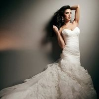 Wedding Dresses, Sweetheart Wedding Dresses, Fashion, Mermaid, Sweetheart, Strapless, Strapless Wedding Dresses, Buttons, Satin, Organza, organza wedding dresses, dropped waistline, tony bowls bridal, tony bowls bridal for mon cheri, optional straps, satin wedding dresses