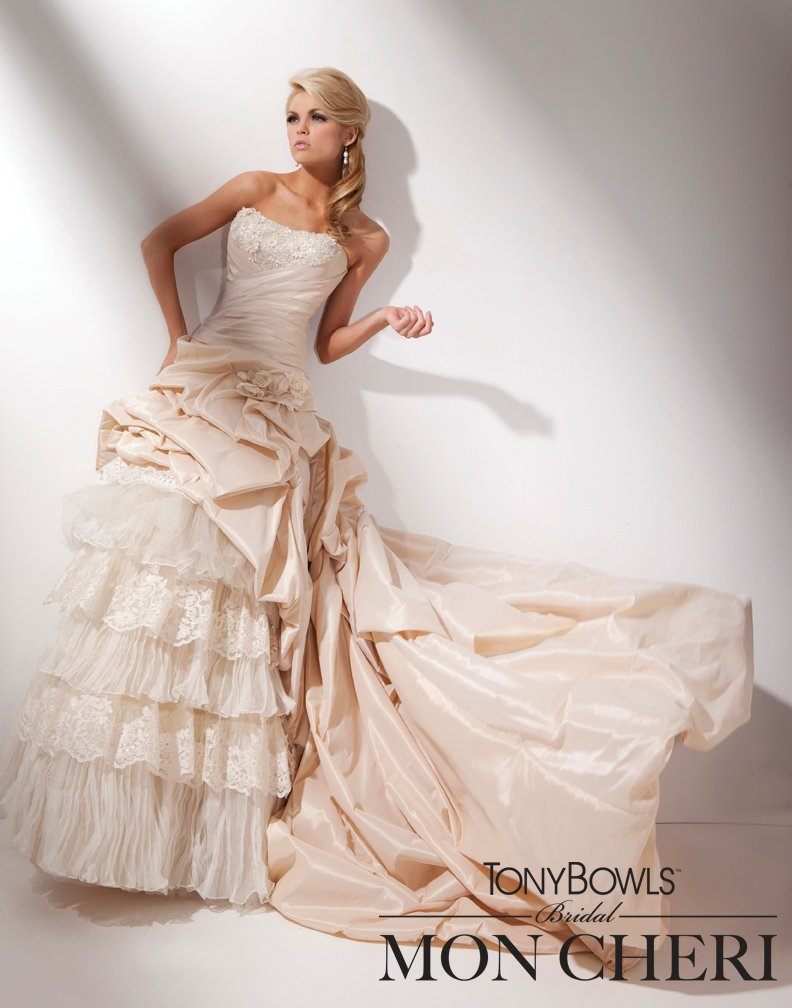 Wedding Dresses, Fashion, Strapless, Strapless Wedding Dresses, Organza, Taffeta, A-line gown, organza wedding dresses, taffeta wedding dresses, curved neckline, two piece, tony bowls bridal, tony bowls bridal for mon cheri, optional straps, bubble hemline, laced corset back, high low skirt