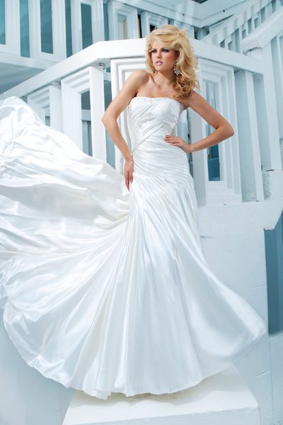 Wedding Dresses, A-line Wedding Dresses, Fashion, Strapless, Strapless Wedding Dresses, A-line, Buttons, Satin, Beaded, Embellished, chapel train, pleated bodice, curved neckline, dropped waistline, tony bowls bridal, tony bowls bridal for mon cheri, optional straps, curved back, satin wedding dresses