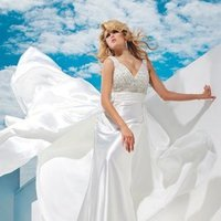 Wedding Dresses, A-line Wedding Dresses, Fashion, A-line, Crystals, Beaded, Ruched, chapel train, sweep train, V-neckline, empire bodice, sleevless, charmuese, tony bowls bridal, tony bowls bridal for mon cheri, plunging back