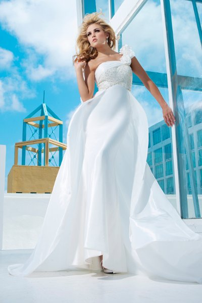 Wedding Dresses, One-Shoulder Wedding Dresses, A-line Wedding Dresses, Fashion, Flowers, A-line, Beaded, Taffeta, One-shoulder, chapel train, sweep train, empire bodice, taffeta wedding dresses, tony bowls bridal, tony bowls bridal for mon cheri, ruched neckline, Flower Wedding Dresses