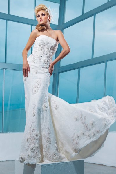 Wedding Dresses, Lace Wedding Dresses, Fashion, Flowers, Lace, Strapless, Strapless Wedding Dresses, Jeweled, Beaded, Embroidered, A-line gown, chapel train, ruched bodice, empire bodice, tony bowls bridal, tony bowls bridal for mon cheri, optional straps, Flower Wedding Dresses