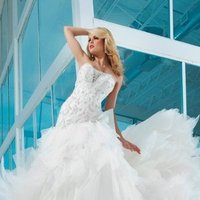Wedding Dresses, Ball Gown Wedding Dresses, Lace Wedding Dresses, Fashion, Lace, Strapless, Strapless Wedding Dresses, Organza, Ball gown, Appliques, chapel train, Beaded bodice, low back, organza wedding dresses, dropped waistline, tony bowls bridal, tony bowls bridal for mon cheri, optional straps, dramatic sweetheart