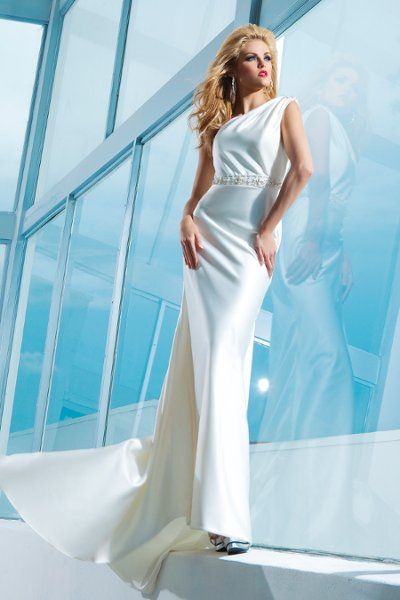 Wedding Dresses, One-Shoulder Wedding Dresses, A-line Wedding Dresses, Fashion, A-line, Beaded, One-shoulder, asymmetrical neckline, draped bodice, tony bowls bridal, tony bowls bridal for mon cheri