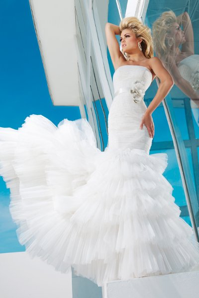 Wedding Dresses, Fashion, Flowers, Strapless, Strapless Wedding Dresses, Tiered, Ribbon, Tulle, Beaded, Ruched, chapel train, Corset back, lace bodice, mermaid gown, tulle wedding dresses, dropped waistline, tony bowls bridal, tony bowls bridal for mon cheri, optional straps, natural waistband, Flower Wedding Dresses