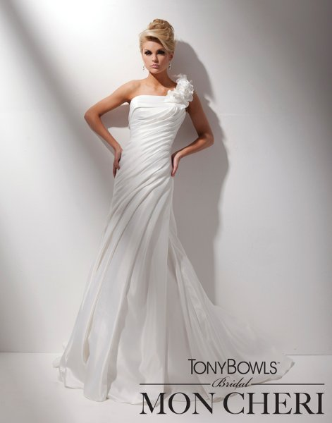 Wedding Dresses, One-Shoulder Wedding Dresses, Fashion, Flowers, Satin, Crystals, A-line gown, One-shoulder, chapel train, pleated bodice, draped skirt, dropped waistline, tony bowls bridal, tony bowls bridal for mon cheri, matching shawl, satin wedding dresses, Flower Wedding Dresses