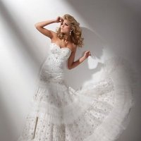 Wedding Dresses, Sweetheart Wedding Dresses, Lace Wedding Dresses, Fashion, Lace, Sweetheart, Strapless, Strapless Wedding Dresses, Tiered, Tulle, A-line gown, chapel train, Beaded bodice, tulle wedding dresses, dropped waistline, tony bowls bridal, tony bowls bridal for mon cheri, optional straps