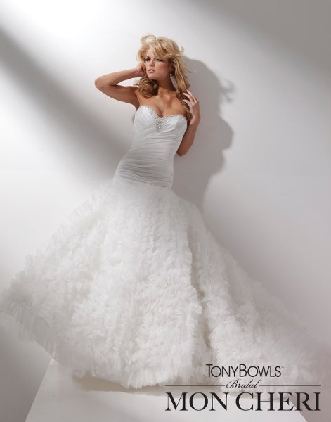 Wedding Dresses, Sweetheart Wedding Dresses, Ball Gown Wedding Dresses, Fashion, Sweetheart, Strapless, Strapless Wedding Dresses, Satin, Organza, Beaded, Ruffled, Ball gown, chapel train, ruched bodice, organza wedding dresses, dropped waistline, tony bowls bridal, tony bowls bridal for mon cheri, optional straps, satin wedding dresses