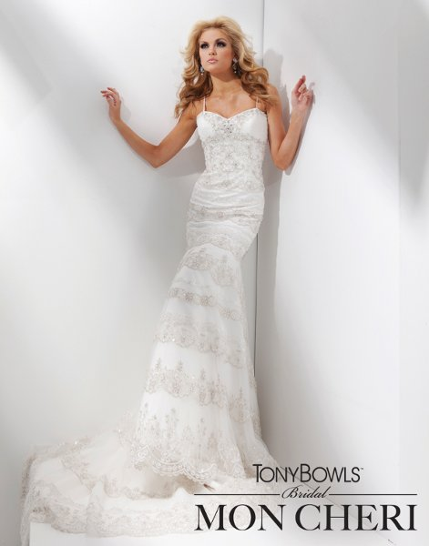 Wedding Dresses, Lace Wedding Dresses, Fashion, Mermaid, Lace, Spaghetti straps, Tulle, Beaded, Scalloped, Sleeveless, Appliques, chapel train, tiered skirt, sweetheart bodice, tulle wedding dresses, dropped waistline, tony bowls bridal, tony bowls bridal for mon cheri, pleated bustline, Spahetti Strap Wedding Dresses