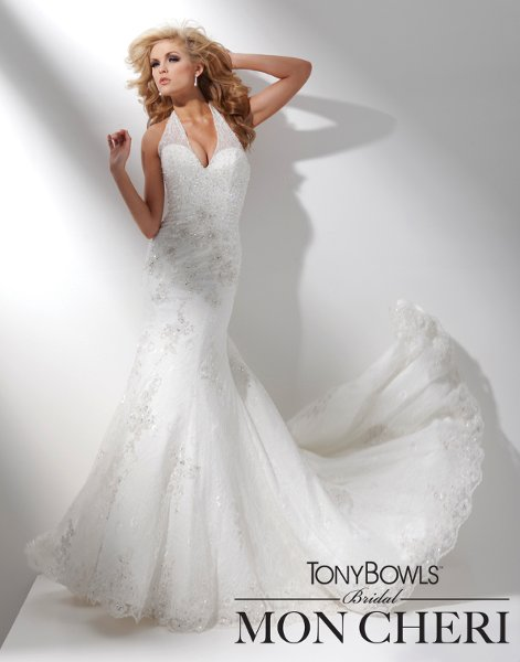 Wedding Dresses, Fashion, Mermaid, Beaded, Sequin, chapel train, soft lace, sweetheart bodice, tony bowls bridal, tony bowls bridal for mon cheri, scalloped hemline, basque waistline