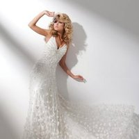 Wedding Dresses, Fashion, Feathers, Spaghetti straps, Tulle, Satin, Beaded, A-line gown, Sleeveless, chapel train, tulle wedding dresses, tony bowls bridal, tony bowls bridal for mon cheri, plunging v-neckline, satin wedding dresses, Spahetti Strap Wedding Dresses, Feather Wedding Dresses