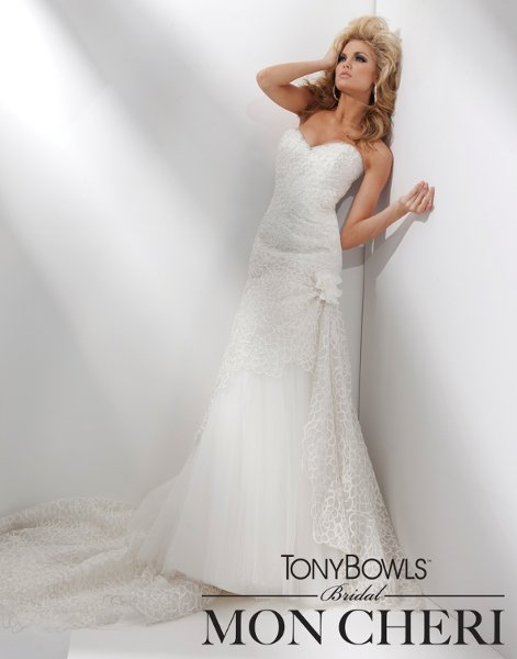 Wedding Dresses, Sweetheart Wedding Dresses, Fashion, Flowers, Sweetheart, Strapless, Strapless Wedding Dresses, Tulle, Beaded, Embroidered, A-line gown, chapel train, lace bodice, tulle wedding dresses, dropped waistline, tony bowls bridal, tony bowls bridal for mon cheri, optional straps, pleated back skirt, Flower Wedding Dresses
