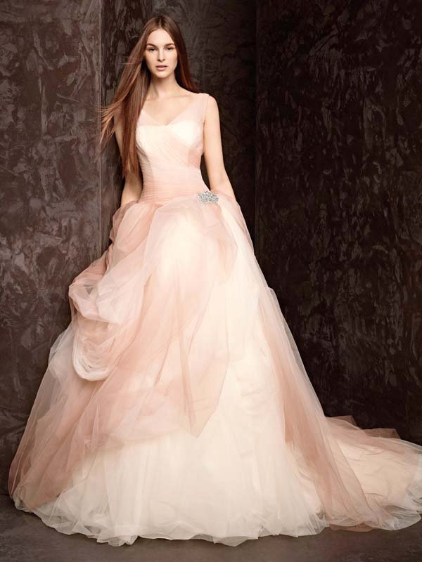 Wedding Dresses, Ball Gown Wedding Dresses, Romantic Wedding Dresses, Fashion, ivory, pink, Spring, Modern, Classic, Vera wang, Romantic, V-neck, V-neck Wedding Dresses, Tulle, Floor, Natural, Sleeveless, Ball gown, White by vera wang, Modern Wedding Dresses, Spring Wedding Dresses, Classic Wedding Dresses, tulle wedding dresses, Floor Wedding Dresses