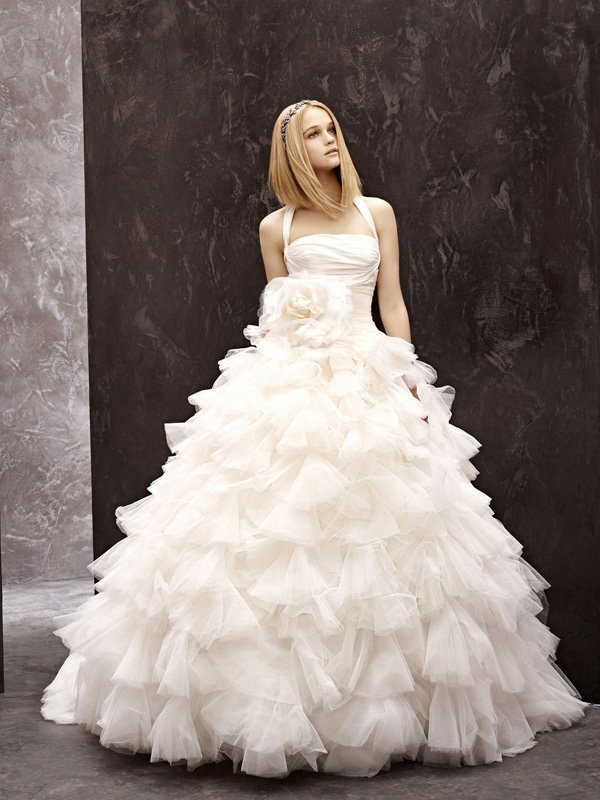 Wedding Dresses, Ball Gown Wedding Dresses, Ruffled Wedding Dresses, Fashion, ivory, Flowers, Vera wang, Halter, Floor, Ruffles, Taffeta, Ruching, Ball gown, White by vera wang, halter wedding dresses, taffeta wedding dresses, Flower Wedding Dresses, Floor Wedding Dresses