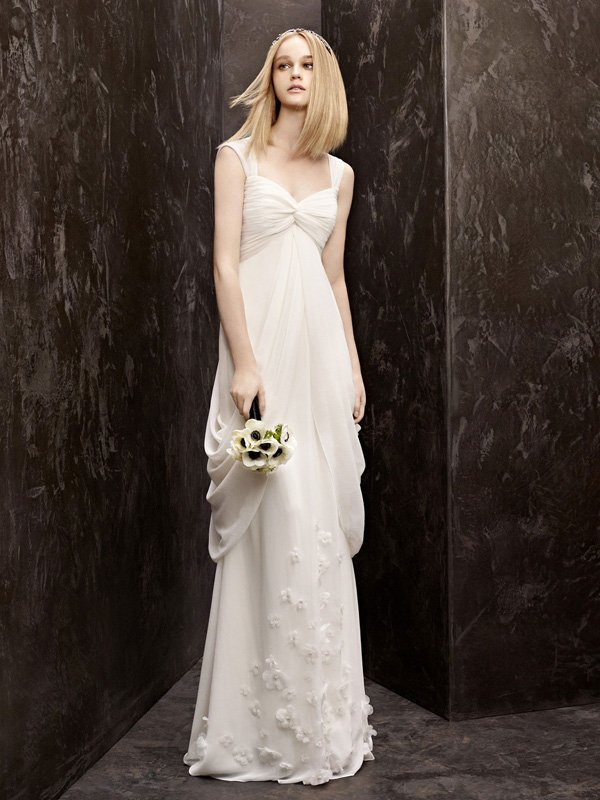 Wedding Dresses, Sweetheart Wedding Dresses, Fashion, ivory, Flowers, Vera wang, Sweetheart, Empire, Sheath, Floor, Chiffon, Pick-ups, White by vera wang, Flower Wedding Dresses, Sheath Wedding Dresses, Chiffon Wedding Dresses, Floor Wedding Dresses