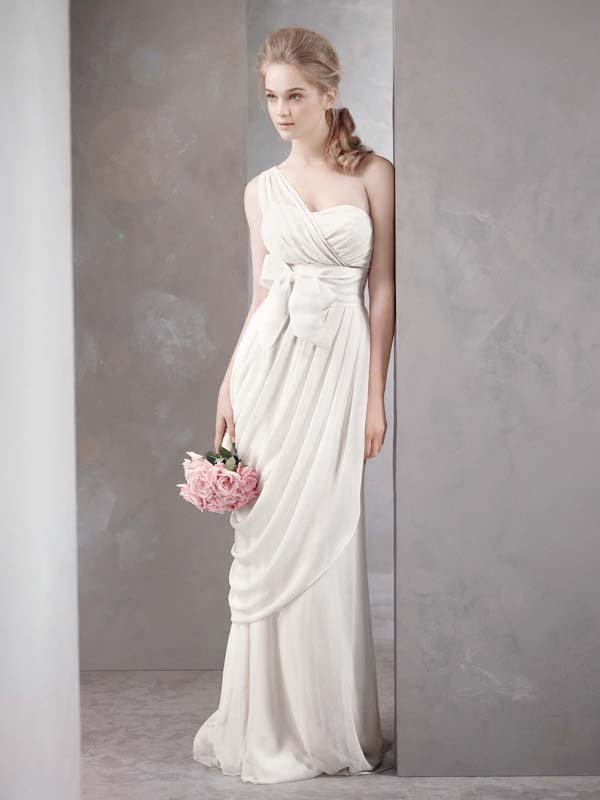 Wedding Dresses, One-Shoulder Wedding Dresses, Fashion, white, ivory, Vera wang, Sheath, Floor, Chiffon, Silk, Ruching, White by vera wang, One-shoulder, Sheath Wedding Dresses, Chiffon Wedding Dresses, Silk Wedding Dresses, Floor Wedding Dresses