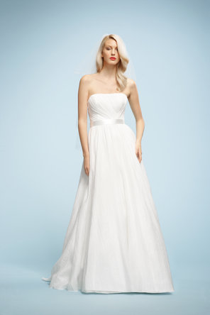 Wedding Dresses, A-line Wedding Dresses, Fashion, Strapless, Strapless Wedding Dresses, A-line, Natural waist, Ribbons, Sashes, Sleeveless, Watters bridal, chapel train, floor length