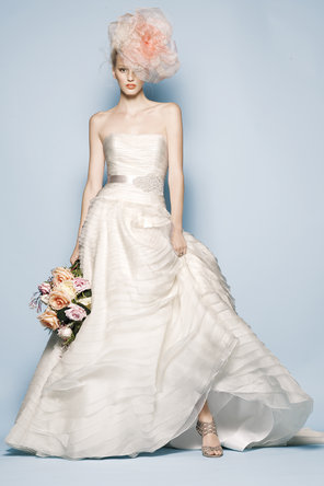 Wedding Dresses, Ball Gown Wedding Dresses, Fashion, ivory, Strapless, Strapless Wedding Dresses, Ribbons, Sashes, Organza, Sleeveless, Ball gown, Watters bridal, floor length, sweep train, organza wedding dresses