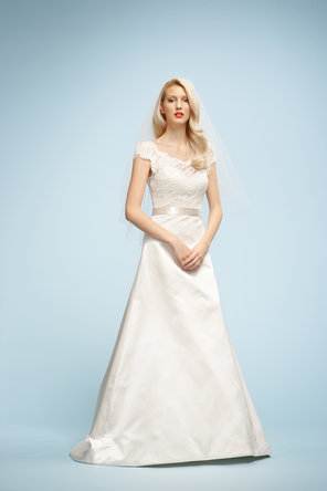 Wedding Dresses, A-line Wedding Dresses, Fashion, ivory, A-line, Satin, Ribbons, Sashes, Watters bridal, floor length, sweep train, bateau, short sleeves, Bateau Wedding Dresses, satin wedding dresses