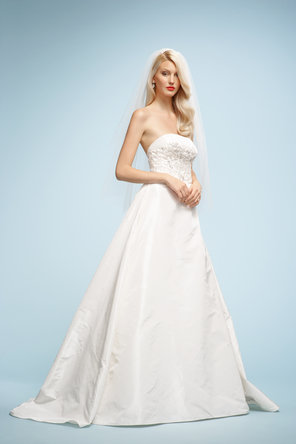 Wedding Dresses, A-line Wedding Dresses, Fashion, ivory, Strapless, Strapless Wedding Dresses, A-line, Embroidery, Taffeta, Sleeveless, Watters bridal, chapel train, floor length, taffeta wedding dresses