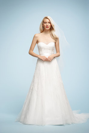 Wedding Dresses, Sweetheart Wedding Dresses, A-line Wedding Dresses, Fashion, ivory, Sweetheart, Strapless, Strapless Wedding Dresses, A-line, Natural waist, Ribbons, Chapel, Sashes, Organza, Sleeveless, Watters bridal, floor length, organza wedding dresses