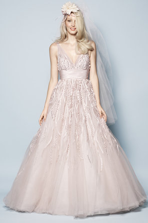 Wedding Dresses, Romantic Wedding Dresses, Fashion, pink, Garden, Romantic, V-neck, V-neck Wedding Dresses, Chapel, Taffeta, Sleeveless, Watters bridal, floor length, taffeta wedding dresses